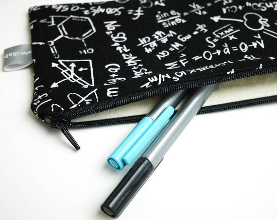 Pencil case - sciences - mathematics - molecules - equations - chemistry - science - black - white - pencils -Father's Day