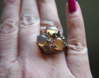 Mexican Fire Opal Ring - Sterling Silver - Vintage
