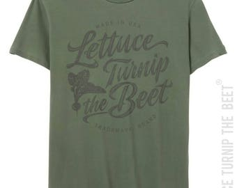 lettuce turnip the beet ® trademark brand OFFICIAL SITE - sunwashed green garment dyed cotton shirt with grey distressed cursive logo
