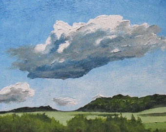 "Art Original Oil Painting Landscape Impressionist Cloud Sky Eastern Townships Appalachian Quebec Canada By Fournier "" The Cumulus "" 20""x 16"""