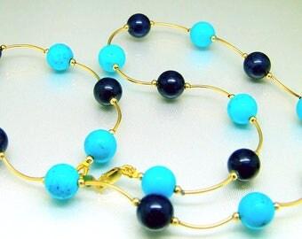 14k Gold Lapis Lazuli Turquoise Station Necklace