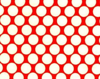 OOP Amy Butler - Full Moon Polka Dots in Cherry - by the Yard - Pinks Designer Fabric - Lotus Collection