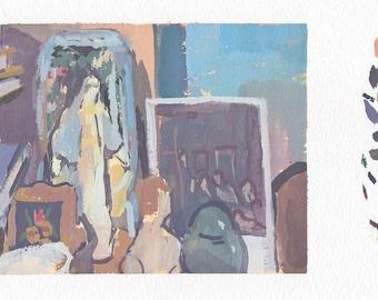 original painting, mother mary still life, gouache painting, still life painting by Michelle Farro