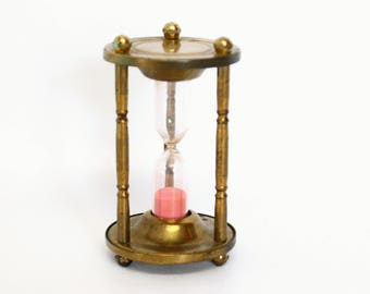 Vintage Brass Hourglass Sand Timer with Pink Sand