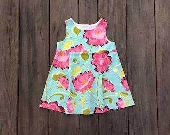 Floral- Pink on Blue Girls Sundress, Blue, Pink, Flowers, Cotton, Sundress, Girl, Baby, Boutique, Spring, Romper, Jumper, Dress