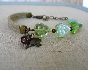 Green Leaf Bracelet, Asymmetrical Glass Bead and Suede Cuff, Bird and Leaves, Unique Bracelet, Nature Inspired Jewelry, Bird Jewelry