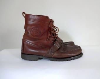 Vintage RALPH LAUREN Boots • 1990s Polo Country • Sportsman Brown Leather Lace Up Ranger Ankle Hiking Buckle Shoe •Women sz 11 12 Men 9