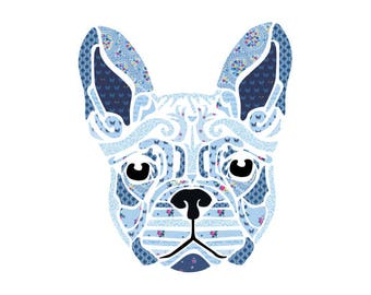 "Fleur The Frenchie 20"" x 20"" Laser Cut Quilt Kit - Madisen Hastings - INCLUDES APPLIQUE - Featuring Blue Carolina By The Tattooed Quilter"