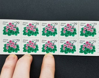 Vintage unused postage stamps - flowers (African violets) 29c, 20 stamps total