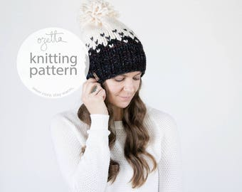 Knitting Pattern / Ombré Fair Isle Knit Hat With Pom Pom / THE MINTURN HAT