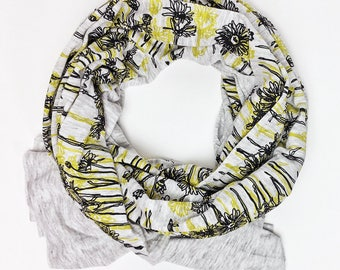 Bundle Up Flower Scarf- Hand Printed (Yellow)