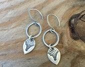 Fine Silver Petal Link Earring, Sterling Silver Handmade Dangle Earrings, Leaf Petal Earrings, Boho Earrings