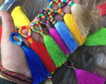 "Banded Loop Silk Tassels, 3.5"" x 1pc - pick your color / Handmade Luxe Jewelry Tassel with Colorful Loop, Adornments, Home Decor, Supplies"