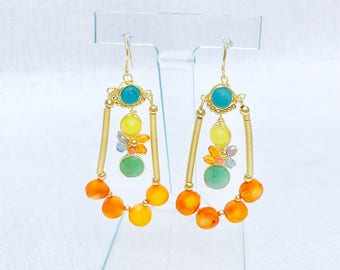 Citrine and Other Stones Chandelier Earrings- Dune du Pyla