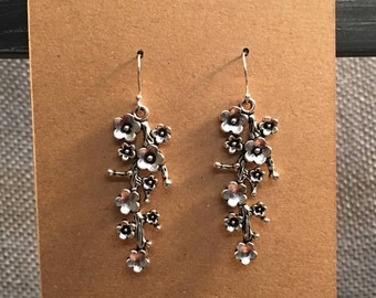 Cherry Blossom Earrings Sterling Silver Earwire