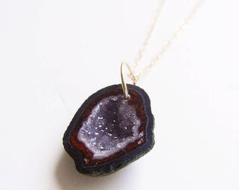 SALE Burgundy Geode Druzy Necklace Gold OOAK