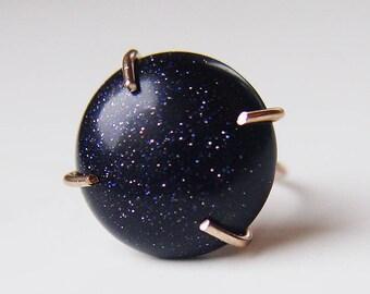 Midnight Goldstone Star Ring OOAK