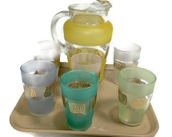 Vintage JUICE GLASSES and PITCHER Set with Tray Set of 6 Glasses Colorful