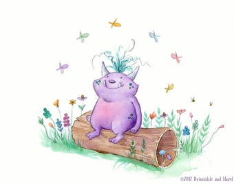 Always Make Time to Stop and Watch the Butterflies - Quirky Purple Monster -  Art Print