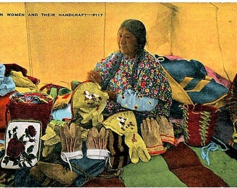 Native American Vintage Postcard - Plains Indian Women doing Arts and Crafts (Unused)