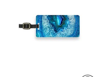 Luggage Tag Blue Geode,  Personalized Metal Tag, Custom information on Backs Choice of Straps Single Tag