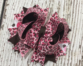 Pink Brown Leopard Print Hair Bow, Pink and Brown Bow, Hairbow, Toddler Hair Bow, Boutique Hair Bow, Girls Bow, Gift for Girls, Brown Pink