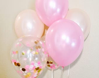 Pink and Peach Balloons,Confetti Balloons,Confetti Latex Balloon, Pastel Balloon Set, Pearl Latex Sets, Pink Peach Latex,Pearl Latex Balloon