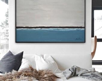 Large Landscape Original Acrylic Painting Gray Blue Ocean Seascape Art Contemporary Abstract Art Handmade Wall Art Decor by Whitman