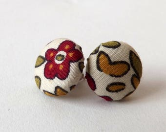 Red Green Yellow Abstract Floral Print Upcycled Fabric Button Stud Earrings 15mm or 19mm