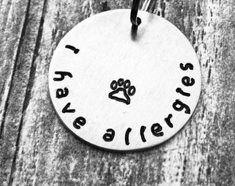 Medical Hand Stamped Allergies Dog Tag