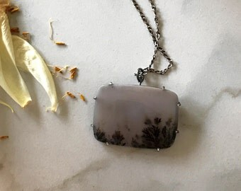 Dendritic Agate Misty Meadow and Dead Bracken Convertible Brooch and Pendant