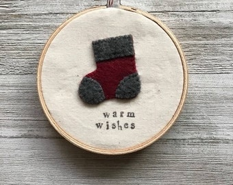 Felt Stocking Embroidery Hoop
