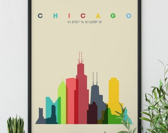 Chicago Skyline Wall Art, Chicago Cubs, The Windy City Skyline, Second City, Deep Dish Pizza, Sears Tower, Classroom Poster, Dorm Room Decor
