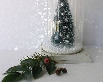 Vintage Bottle Brush Tree Snow GLobe. Vintage Assemblage Christmas Glass Cloche Dome. Vintage Jeweled Holly Topper