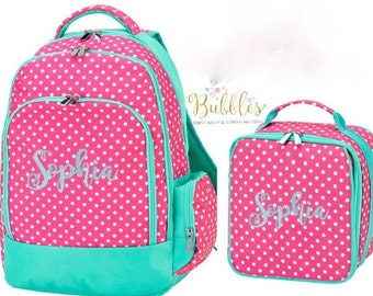 Monogrammed Dottie Backpack and Lunch Box SET with Free Personalization