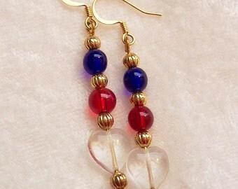4th of July Earrings, Red White Blue Gold Earrings, Patriotic Earrings, Make America Great Again Earrings, Independence Day Earrings