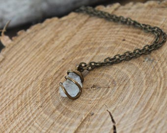 PETITE Rough Topaz Necklace - Natural Topaz Jewelry - Raw Stone Jewelry - Natural Gemstone Necklace - Gypsy Boho Jewelry - Bohemian Necklace