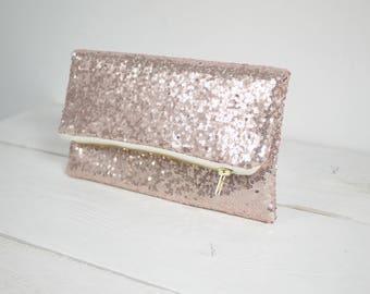 Rose Gold sequin clutch | Rose Gold Purse | Rose Gold Wedding Purse | Blush Bridal Clutch | Blush Bridesmaid Purse