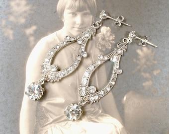 Vintage 1920s Rhinestone Dangle Earrings, Art Deco Flapper Paste Crystal Antique Silver Bridal Drops, Great Gatsby Wedding Jewelry Edwardian