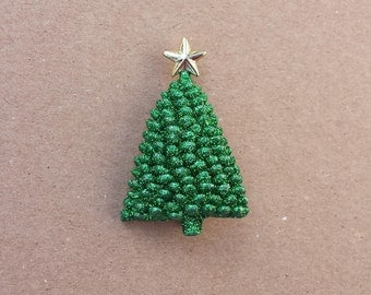Glitter Green Textured Christmas Tree with Star Vintage Brooch Pin