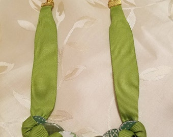 Industrial Chic Upcycled Hardware Jewelry - Glazed Washer and Ribbon Necklace, Greens