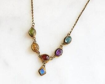 Vintage 90s Sterling Multi Gemstone Opal Drop Necklace 925