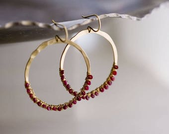 Ruby Earrings, Gold Hoops, Ruby Hoops, Valentines Day gift - Bohemian Wedding - Color Splash, Raindrops