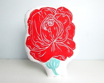 Flower Shaped Pillow. Rose, Peony, Blooming Floral Pillow. Choose Any Colors, Customizable. Hand Woodblock Printed to Order.