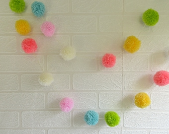 Pom Pom Garland - Pom Pom Bunting Yellow Pink Blue Peach Lime Cream Pastels