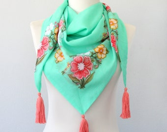Unique gift for her floral summer scarf artist own design turkish scarf boho fashion bright color tassel cotton scarf mint green hot pink
