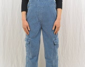 Vintage Blue Corduroy Overalls, Size Petite XS-Small, Grunge, Cargo Overalls, Tumblr Clothing, Y2k, Workwear, Mori Girl