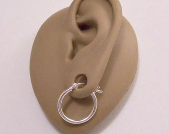 """Sterling Silver Hoops Marked 925 3/4"""" Pierced Post Stud Large Round Tube Vintage 18mm French Bar Lock Plain Open Polished Ring Dangles"""