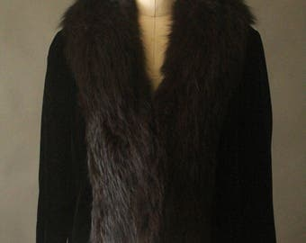 Vintage 40's Black Velvet and Fox Fur Collar Coat by Bullock's of San Fernando Valley