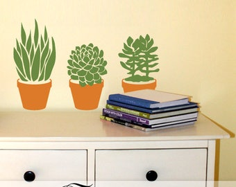 Succulent Plants Wall Decals: 3 Easy Care Succulents in Clay Pots, Plant Lover Gift
